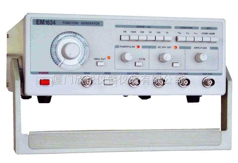 输出信号:   三角波、方波、正弦波、脉冲波、单次脉冲. TTL电平、直流电平 50Hz正弦波 电压输出   输出幅度1mV—25Vp-p 输出阻抗:50Ω±10%   输出频率:0.2Hz—2MHz 频率误差:±5% 衰减: 0dB、 -20dB、-40dB 、–60dB 直流电平: +10V--10V连续可调 占空比:10%-90%连续可调 失真度:≤2% (20Hz-20kHz) 方波上升时间: ≤50nS TT