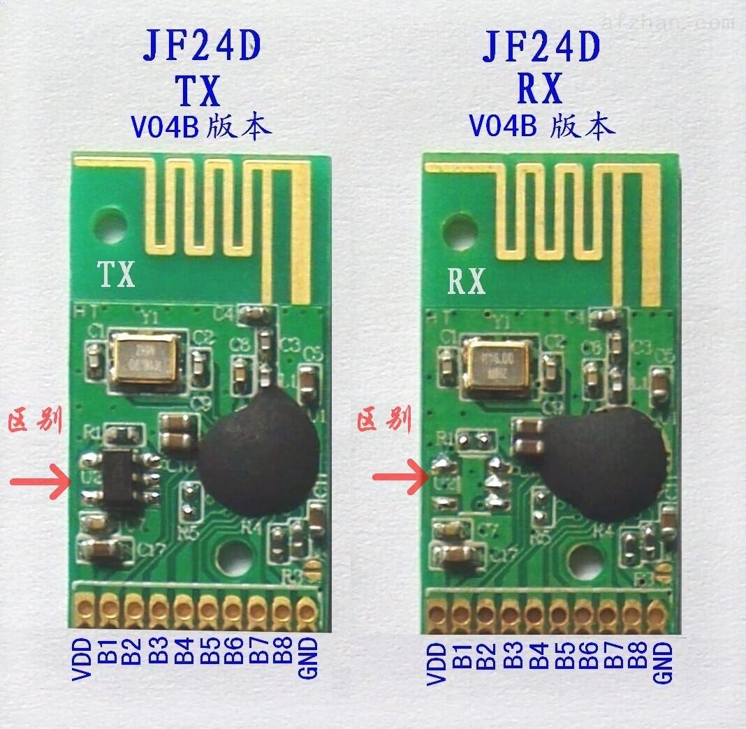2.4G无线模块 无线收发模块JF24D-TX/RX无线遥控模块是我公司在2.4G模块JF24D的基础上增加了一块高性能单片机及程序,不需要再编程的模块, 模块内部已经烧写2.4G的基本程序及遥控学习码程序,不需要做任何编程即可使用。JF24D-TX是发射模块,JF24D-RX是接收模块,发射模块只需要提供3.
