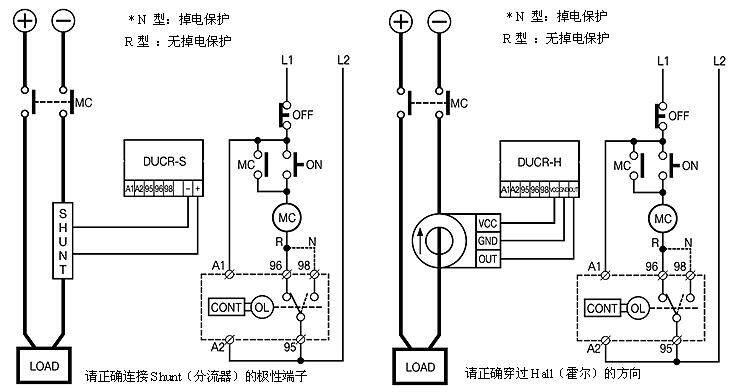 DUCR-S 10-60A电动机保护器 特性  基于MCU(微处理器)的产品  实时跟踪/高精度  DUCR-S应用分流器检测电流, DUCR-H应用Hall Sensor检测电流  可显示分流器或Hall Sensor1次侧的实际电流  自动复位/复位时间设定  可检查各设定值/测试功能(TEST)  掉电保护功能  分流器2次侧输出电压:50mVDC  霍尔传感器(Hall Sensor)的要求:输入:DC12V (GCC-GND) ;输出:DC4V(OUT-GND)  存储最后3次跳闸原因 保护项目