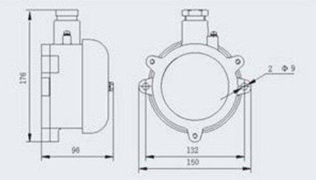 →技术参数 防爆电铃的铃盖直径是125mm 防爆标志:exd ii bt6
